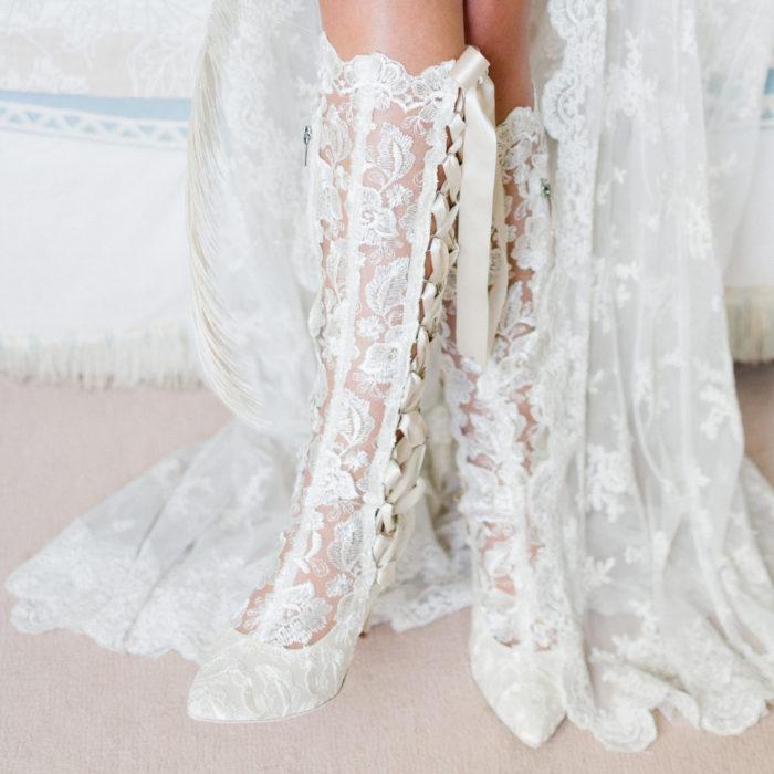 House of Elliot Beatrice Elliot Ivory Lace Knee Bridal Boots