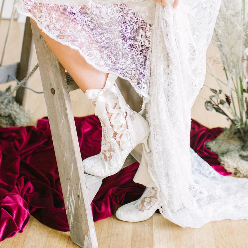 Lottie Elliot Vintage Round toe Ivory Lace Ankle Bridal Boots