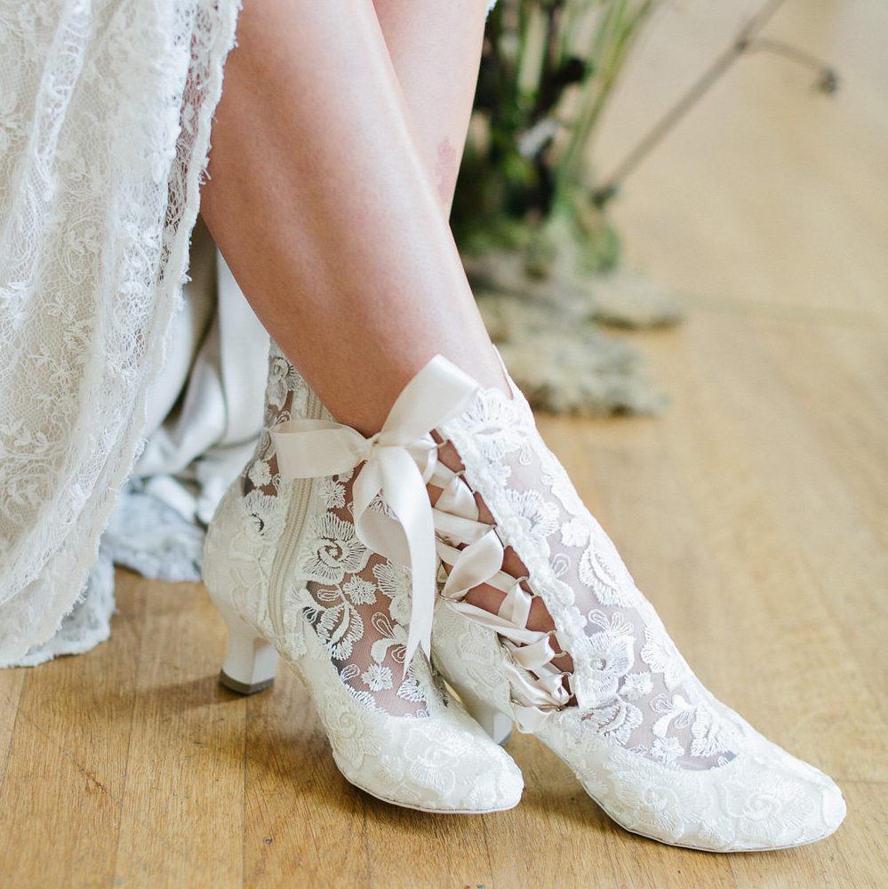 Lizzie Elliot Vintage Victorian Lace Ankle Bridal Boots