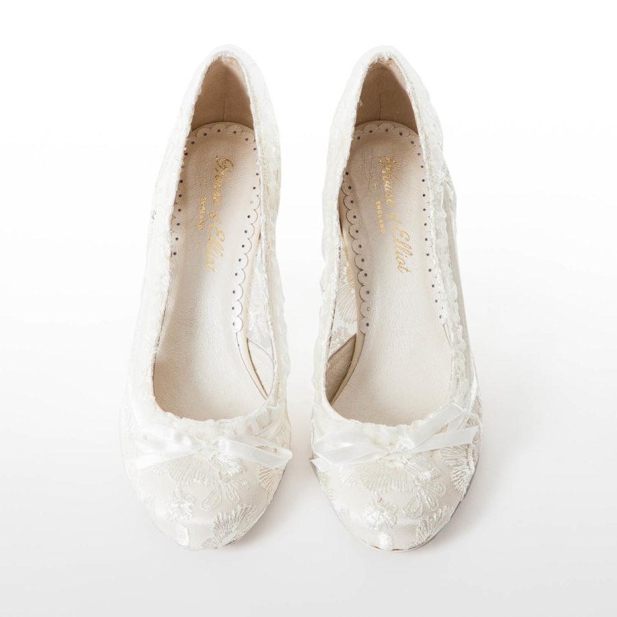 Vintage Ivory Lace Wedding Shoes